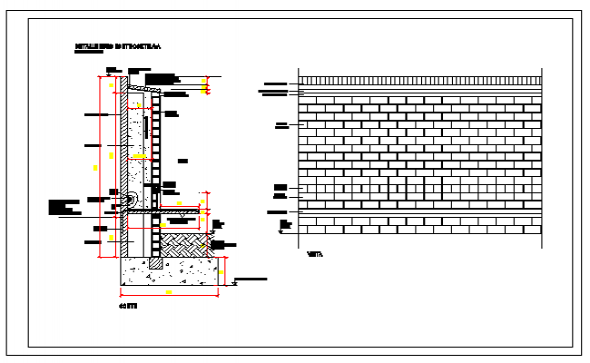 Abutment wall details design drawing