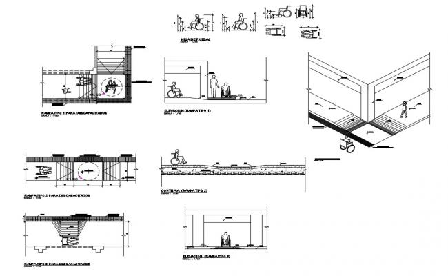 Access gate and ramp structure for handicapped people cad drawing details dwg file