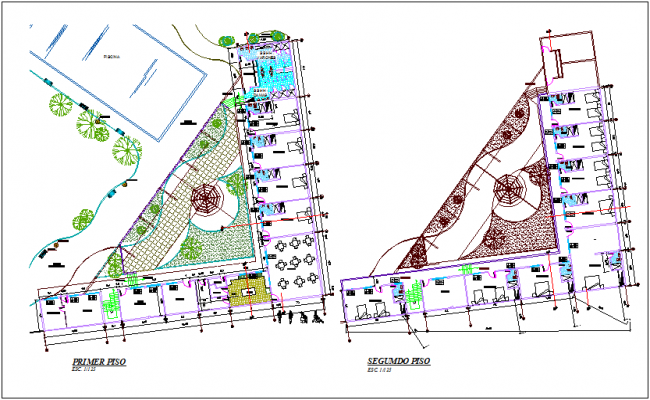 Accommodation view of hotel area first and second floor plan dwg file