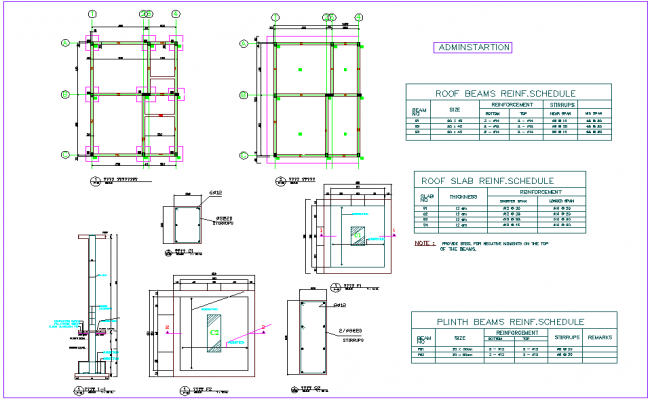 Admin area plan roof beam and slab view with detail for industrial plant dwg file