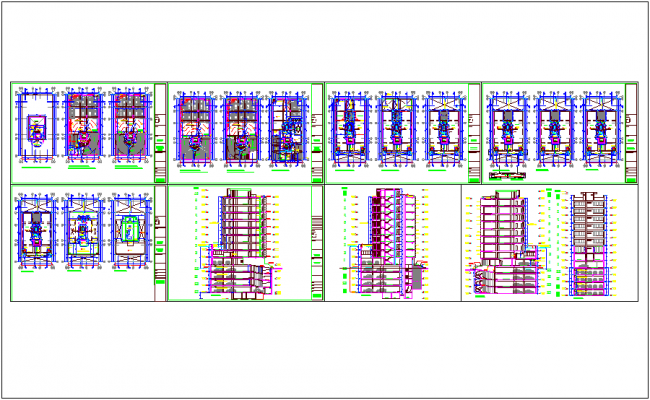 Admin building floor plan,elevation and section view dwg file