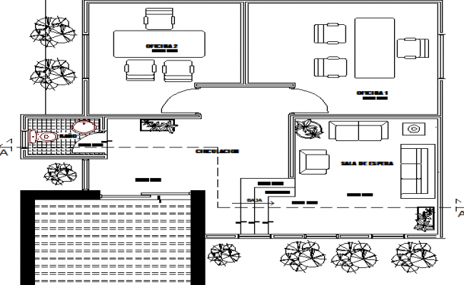 Admin office architecture layout plan details dwg file