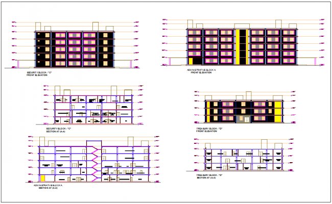 Administration building different elevation and section view for block A,C and D dwg file
