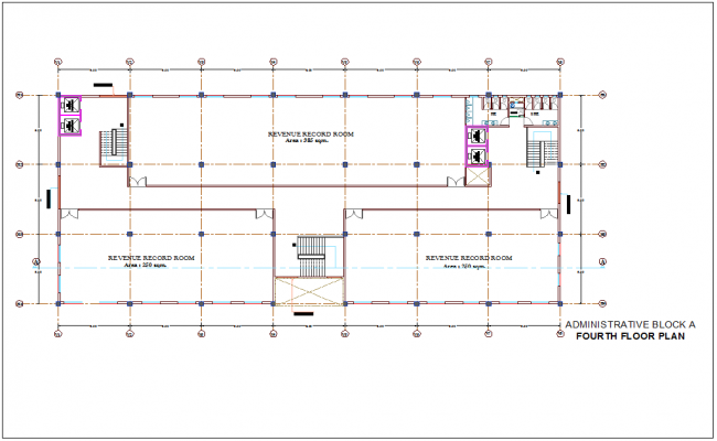 Administration building fourth floor plan with architectural view dwg file