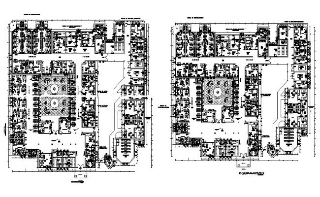 Administration building ground and first floor plan details dwg file