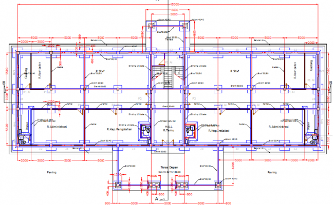Administration building layout plan dwg file