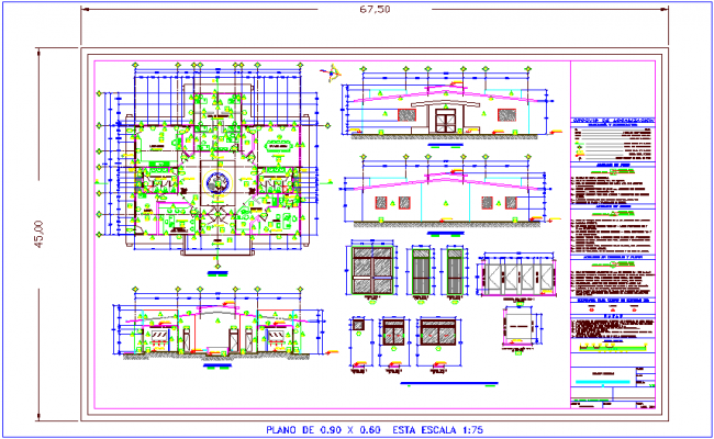 Administration building plan,elevation and section view with door and window detail dwg file
