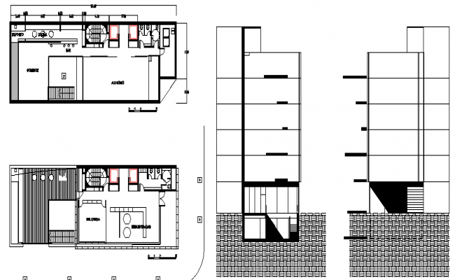Administration building side sections with two floor plan dwg file