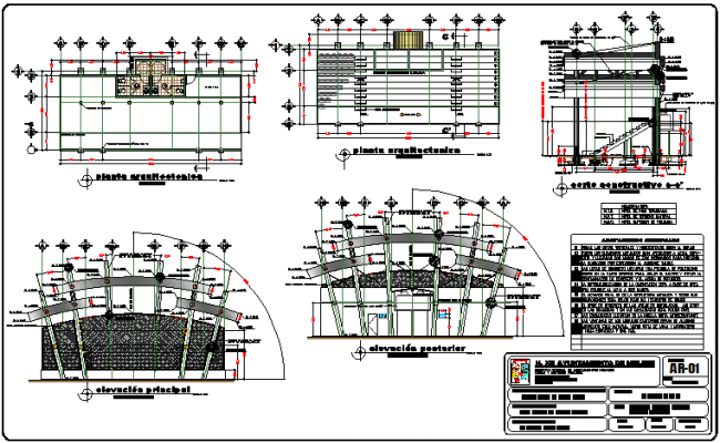 Administration government building architecture details dwg file