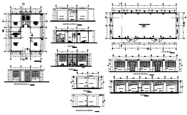 Administration office elevation, section, plan and auto-cad details dwg file