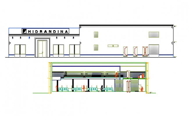 Administration office elevation and sectional details dwg file