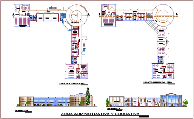 Administrative and educational zone plan and elevation for youth development center dwg file