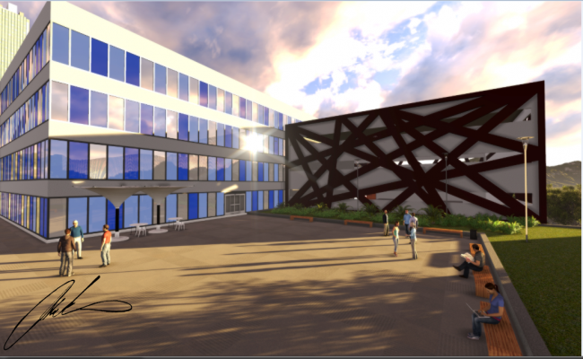 Administrative building 3d design front view dwg file