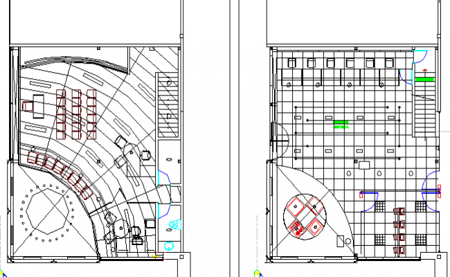 Administrative building architecture layout of floors dwg file