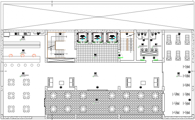 Administrative building architecture layout plan details dwg file