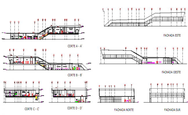 Administrative building elevation and sectional details dwg file