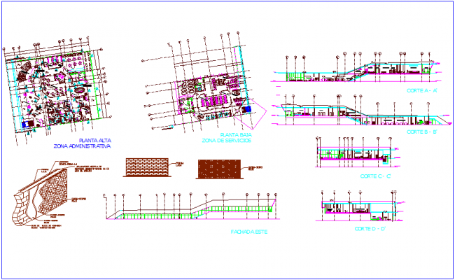 Administrative building plan,elevation & section view wall detail dwg file