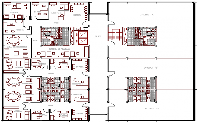 Administrative office building architecture layout plan details dwg file