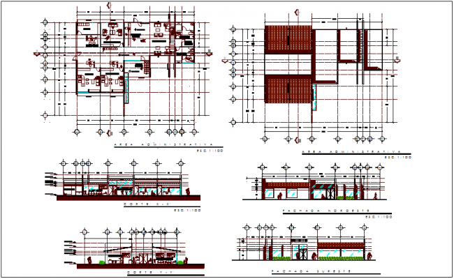 Administrative office plan and section view with roof plan dwg file