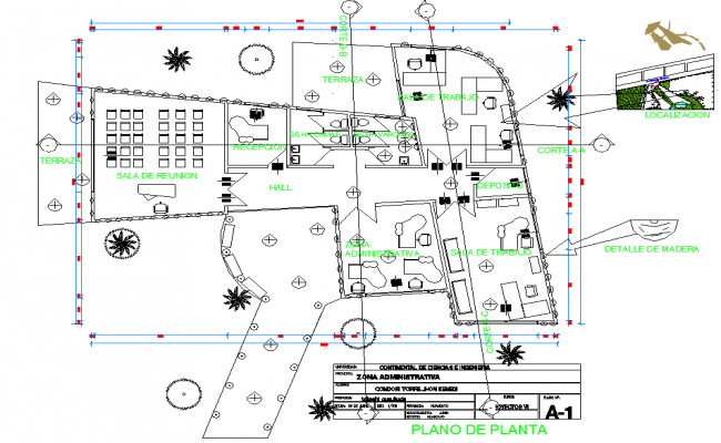 Administrative Building Block Campus Dwg File Cadbull