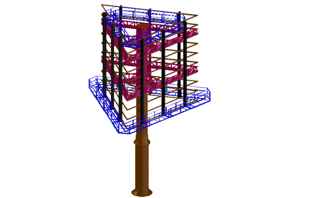 Advertising board of tower 3d design view dwg file
