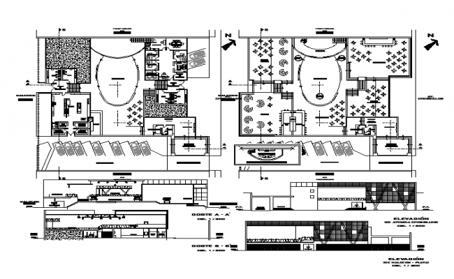 Aerobic building architecture floor plan design and detail