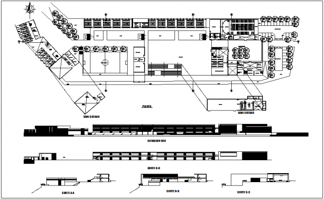 Agricultural school plan,elevation and section view dwg file