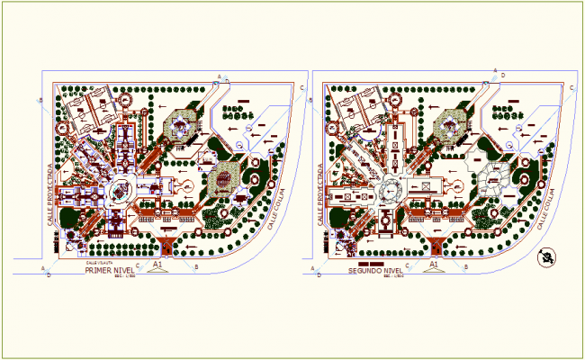 Agriculture collage first and second floor plan dwg file