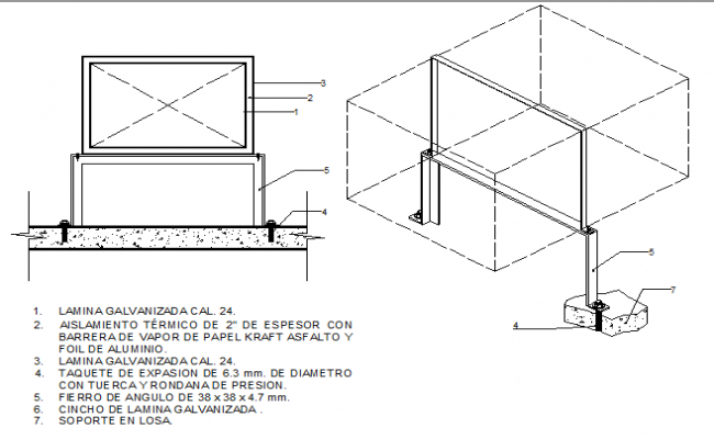 Air conditioning details for ducts with exterior insulation dwg file