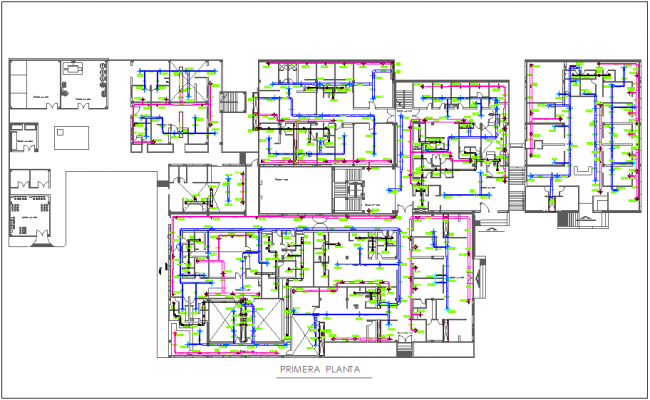 conditioning plan view with single line of pipe dwg file