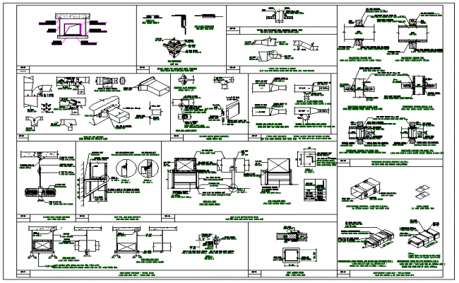 Air flow steel structure detail information dwg file
