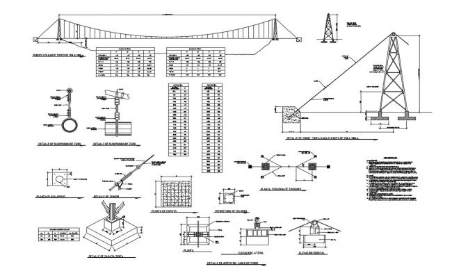 Air passage bridge elevation section and construction details dwg file
