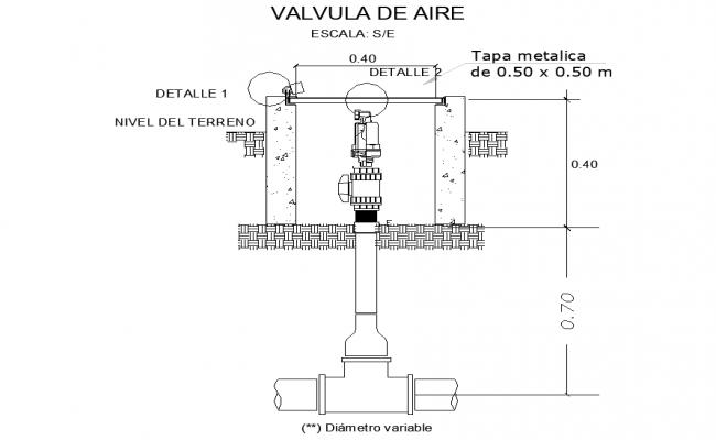 Air valve plan detail dwg file