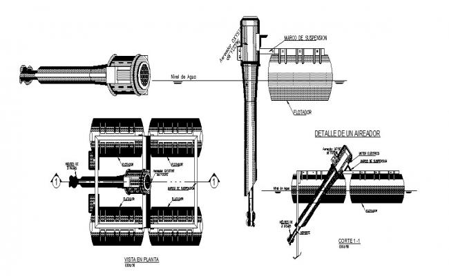 Aircraft machine motor section, plan and working system details dwg file