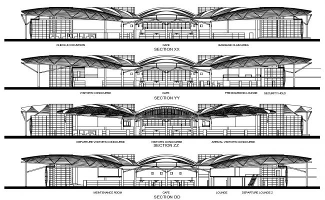 Airport Terminal Building Layout CAD File