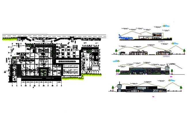 Airport building elevation, section and floor plan cad drawing details dwg file