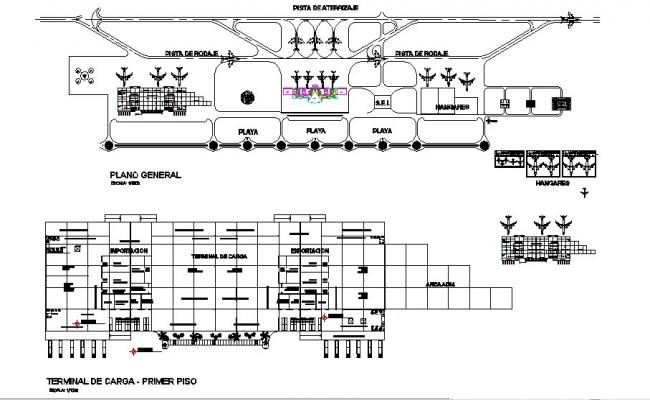 Airport Terminal Section And First Floor Plan And General