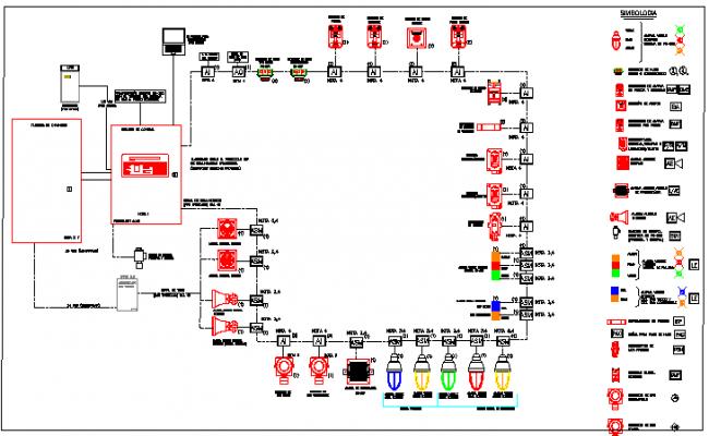 Alarm & Gas Detection System Architecture Design Elevation dwg file