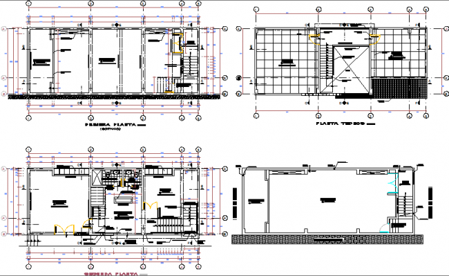 All floors floor plan layout details of community building dwg file