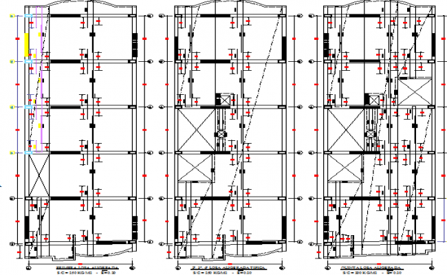 All floors general plan and structure details of office building dwg file