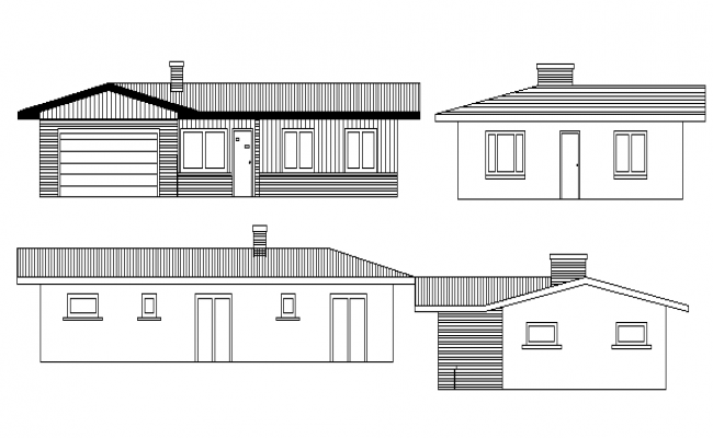 All side elevation details of single family house project dwg file