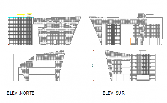 All side elevation view of multi-purpose apartment building dwg file