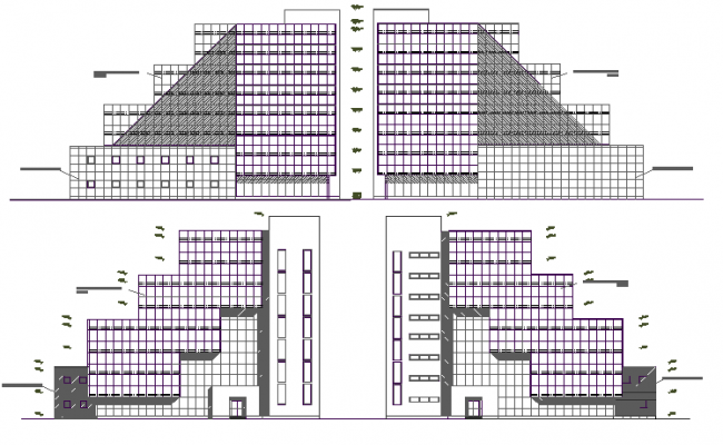 All sided detailed elevation view of exhibition business center dwg file