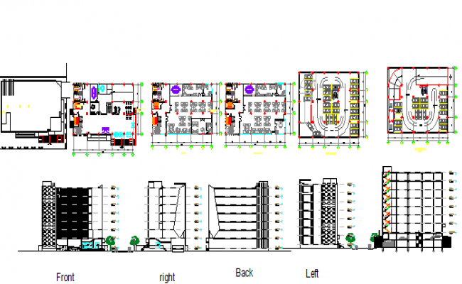 All sided elevation, sections and floor plan details of office building dwg file