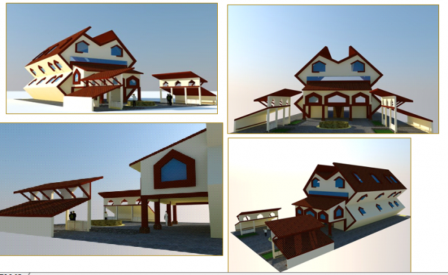 All sided elevation 3d design of economical office building dwg file
