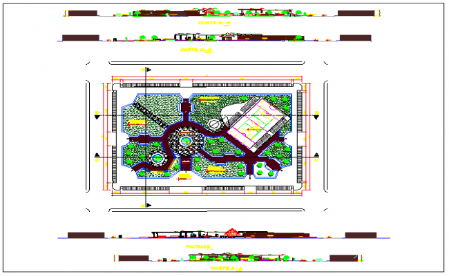 All sided elevation and landscaping details of public garden dwg file