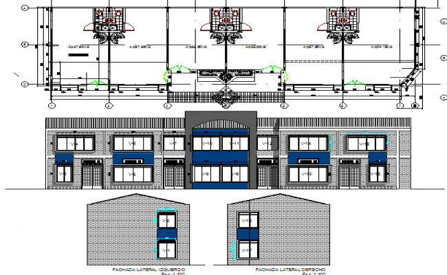 All sided elevation and sanitary installation with plan of shopping center dwg file
