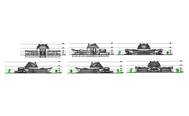 All sided elevation and section details of corporate head office building dwg file