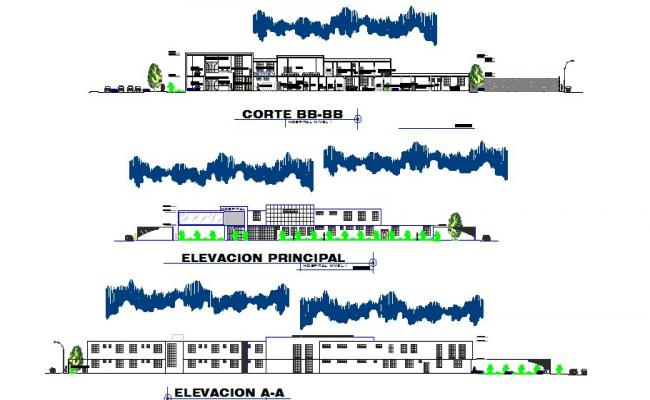 All sided elevation and section details of multi-flooring hospital dwg file