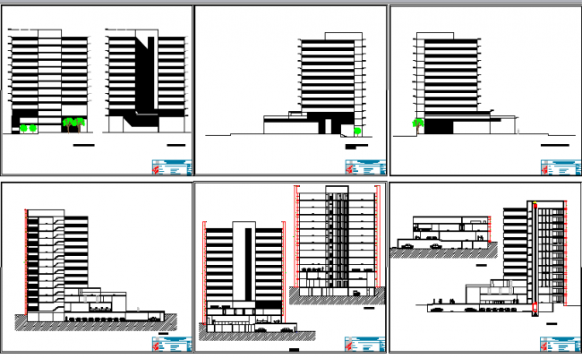 All sided elevation and sectional details of bank building dwg file